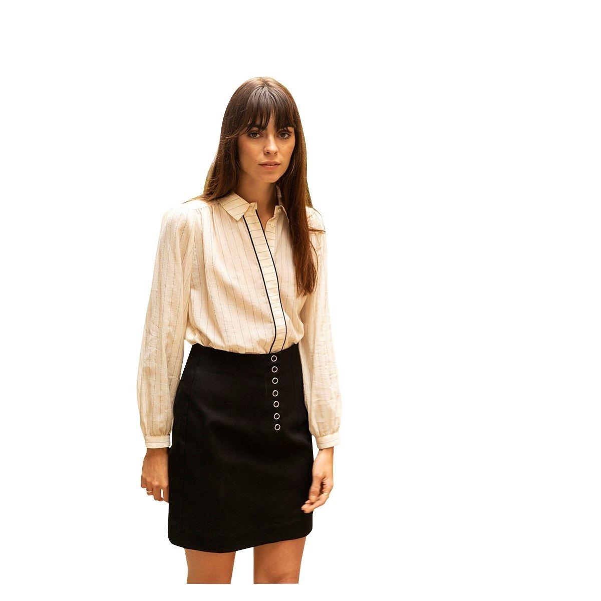 Chemise en coton rayée avec passepoil