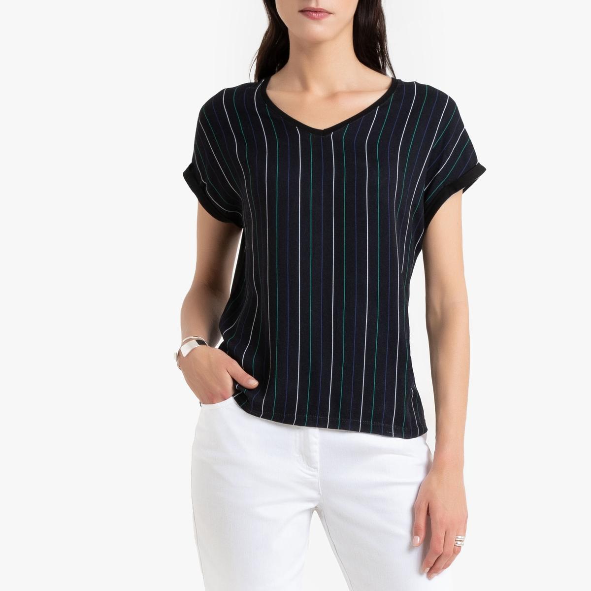 T- shirt com decote em V, bimatéria