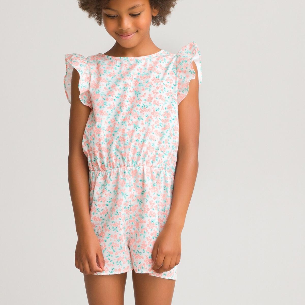 Комбинезон LaRedoute С шортами с цветочным принтом 3-12 лет 12 розовый