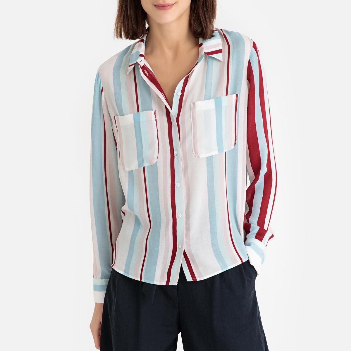 Фото - Блузка LaRedoute С рисунком и длинными рукавами XS разноцветный блузка с рисунком и длинными рукавами для периода беременности