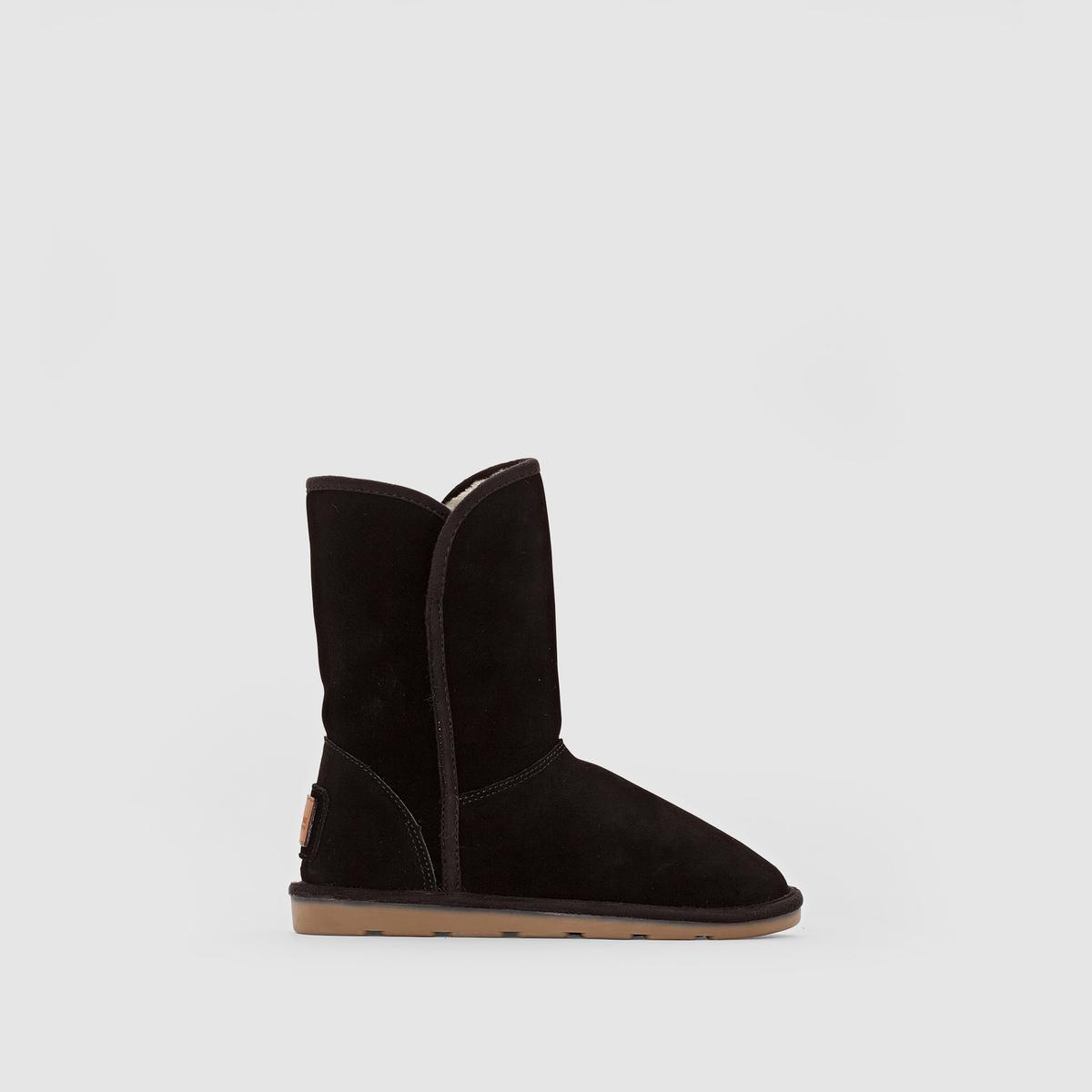 Ботинки замшевые,  CARMENПодкладка: Текстиль.           Стелька: Текстиль.          Подошва: Синтетический материал.         Высота каблука: 2 см.  Высота голенища: 13 см.  Форма каблука: Плоская.  Мысок: Круглый.            Застежка: Без застежки.<br><br>Цвет: черный<br>Размер: 39