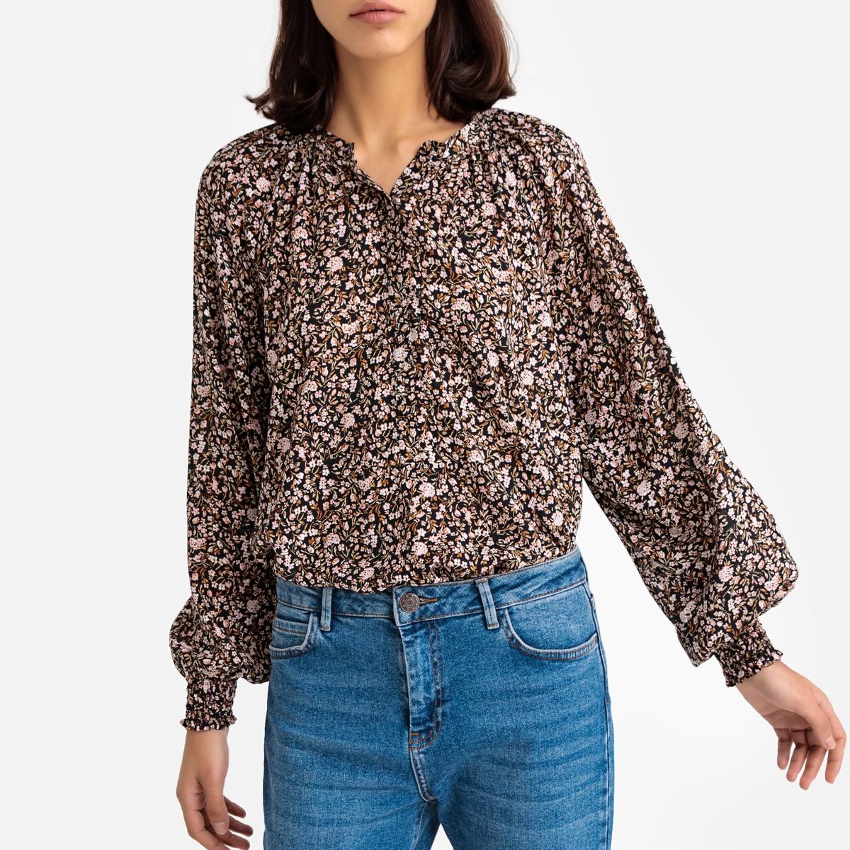 Блузка La Redoute С круглым вырезом с разрезом спереди и длинными напускными рукавами 34 (FR) - 40 (RUS) черный блузка la redoute с круглым вырезом цветочным рисунком и длинными рукавами s черный