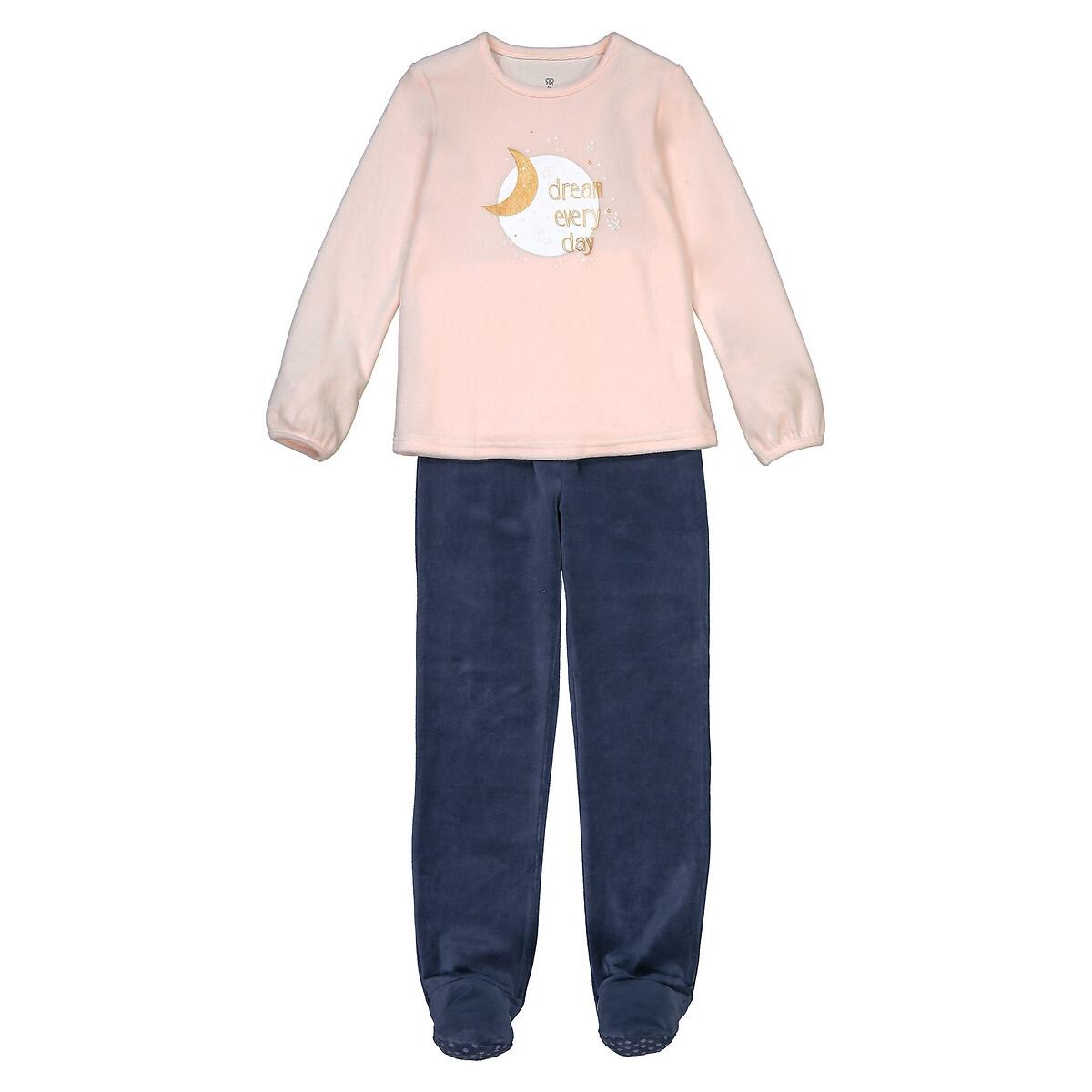 Pijama com pés, em veludo, em algodão biológico, 3-12 anos