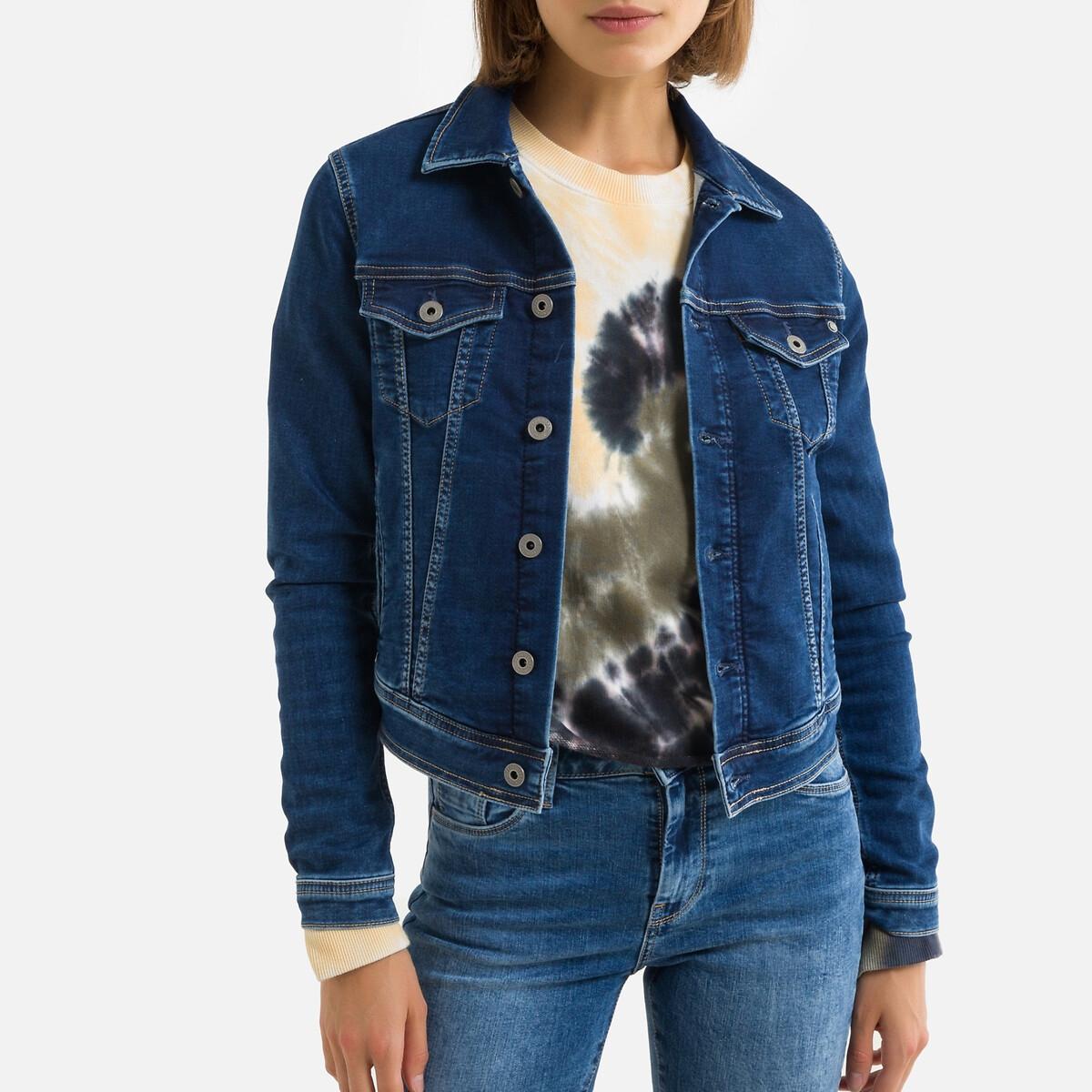 Куртка LaRedoute Прямого покроя из джинсовой ткани L синий