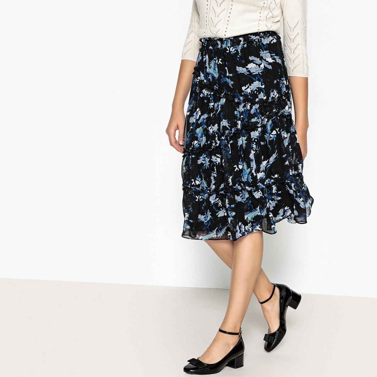 Юбка La Redoute Расклешенная с цветочным принтом FREDA S черный юбка la redoute короткая расклешенная с цветочным рисунком и оборками на поясе xs бежевый