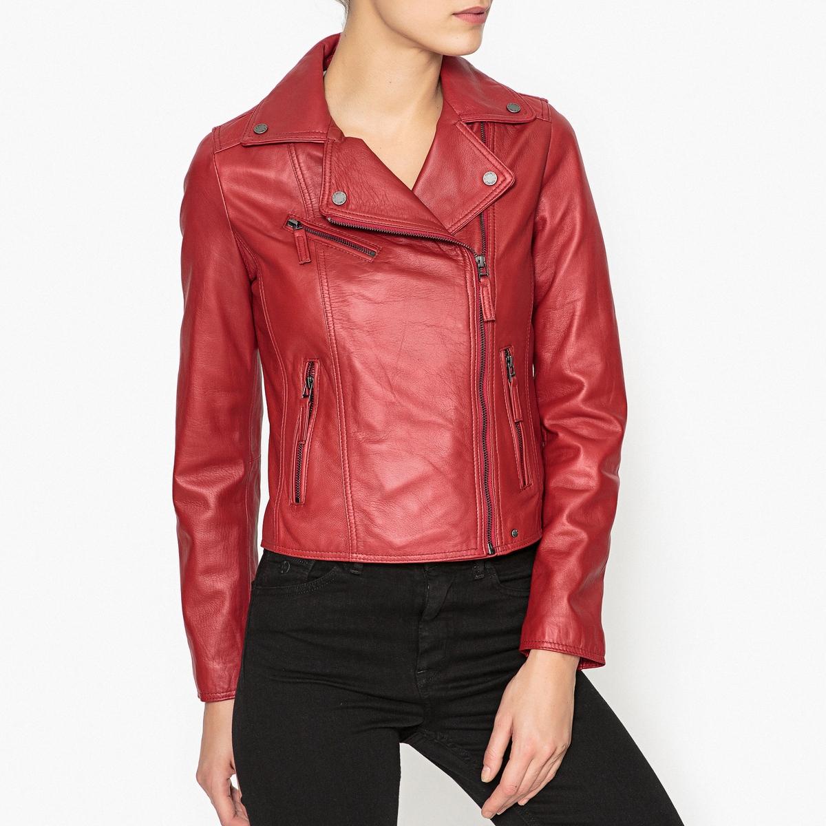Блузон La Redoute Кожаный на молнии CLIP XS красный блузон