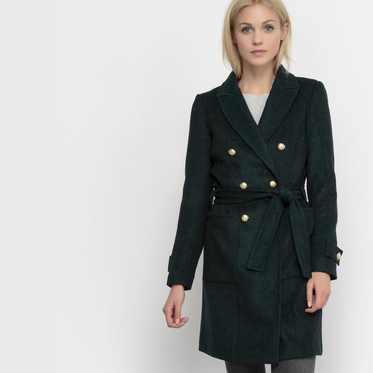 Пальто с саржевым эффектом Coat SolidСостав и описаниеМатериал : 70% полиамида, 30% шерстиДлина : 94 смМарка : Tom TailorМодель : Coat SolidУходСледуйте рекомендациям по уходу, указанным на этикетке изделия<br><br>Цвет: темно-зеленый<br>Размер: 40 (FR) - 46 (RUS)