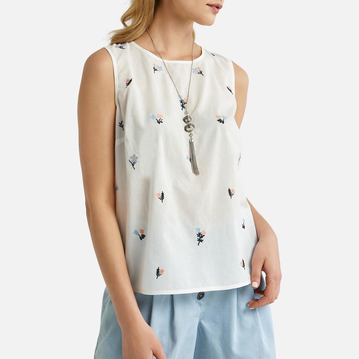 цена на Блузка La Redoute С вышивкой без рукавов 52 (FR) - 58 (RUS) белый