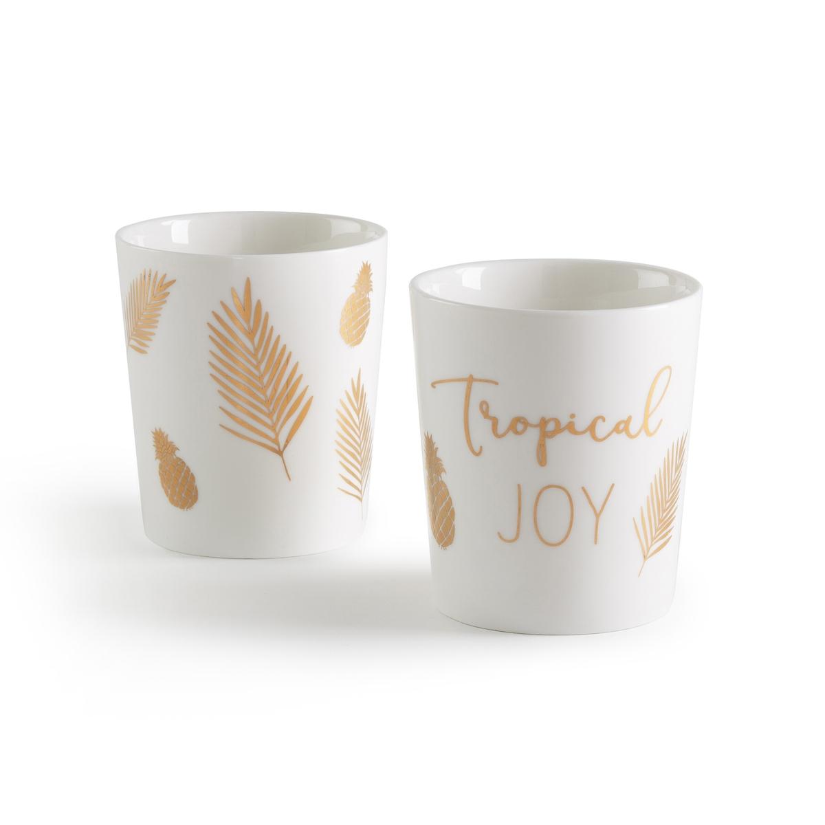 2 чашки в коробке REZIALОписание:2 чашки в коробке La Redoute Interieurs : надпись tropical joy и рисунок листья золотистого цвета. Характеристики 2 чашек •  НадписьTropical Joy и рисунокПодходит для мытья в посудомоечной машине   • Не подходит для микроволновой печи Размеры чашек : •  Диаметр : 7,8 см  •  Высота : 8,9 смВсю коллекцию столового декора вы найдете на сайте laredoute.ru<br><br>Цвет: белый