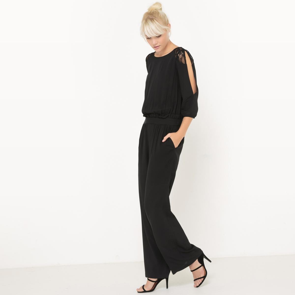 Комбинезон с брюками с кружевными вставками