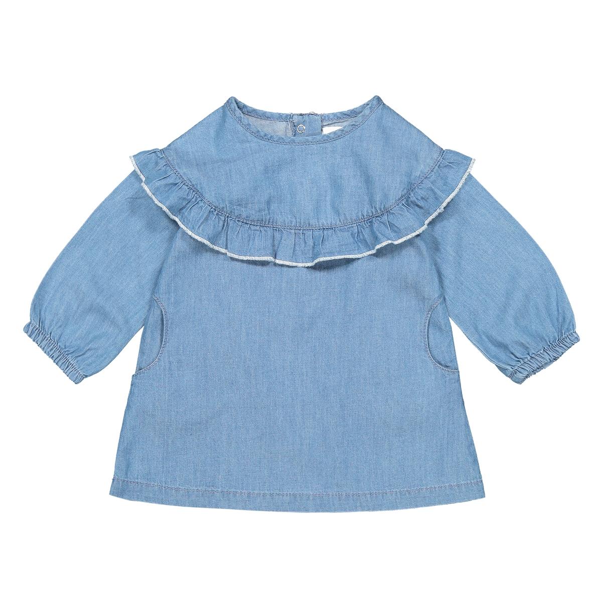 Платье La Redoute Прямое с длинными рукавами мес - года 3 года - 94 см синий комбинезон с длинными рукавами 0 мес 3 года