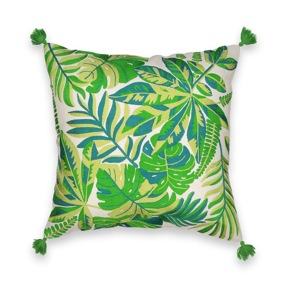 Наволочка со сплошной вышивкойОписание:Наволочка Avertin .  С вышивкой в виде листьев монстеры, аралии и пальмы, тропический принт .  Однотонная оборотная сторона цвета экрю.  100% хлопок .  Скрытая застежка на молнию.  Не стирать .  Размер : 45 x 45 см.  Подушка продается отдельно.<br><br>Цвет: зеленый