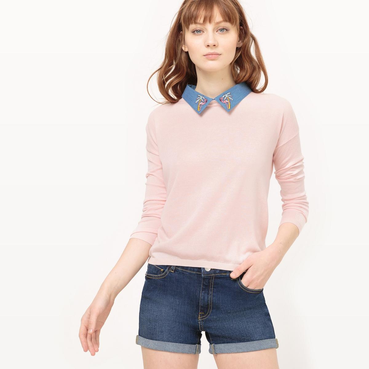 Пуловер с круглым вырезом из хлопкаОписание:Детали  •  Классическая модель •  Длинные рукава •  Круглый вырез •  Тонкий трикотажСостав и уход •  50% хлопка, 50% модала •  Следуйте советам по уходу, указанным на этикетке<br><br>Цвет: розовый<br>Размер: L