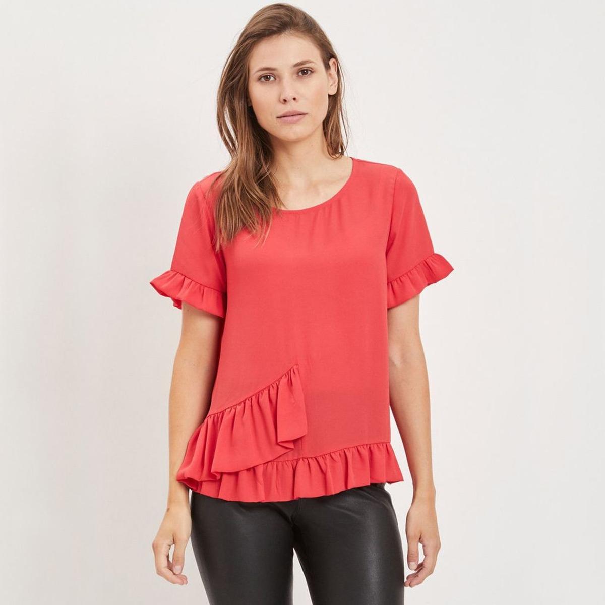 Блузка La Redoute С круглым вырезом с воланами и короткими рукавами 34 (FR) - 40 (RUS) красный