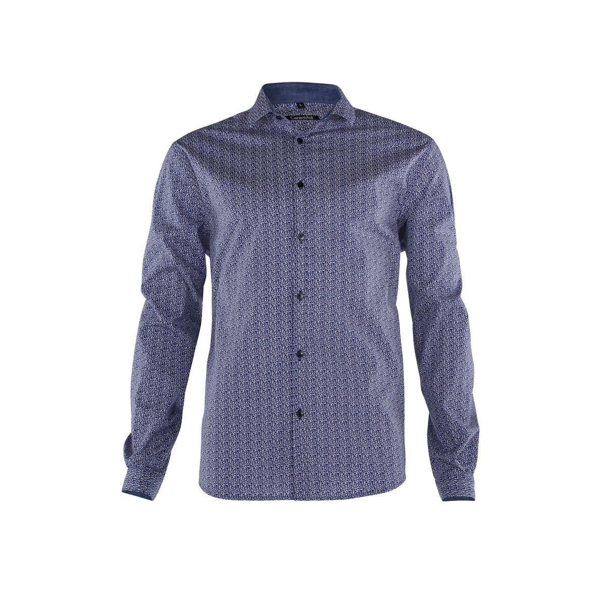 Chemise fond bleu imprime micro dessin blanc