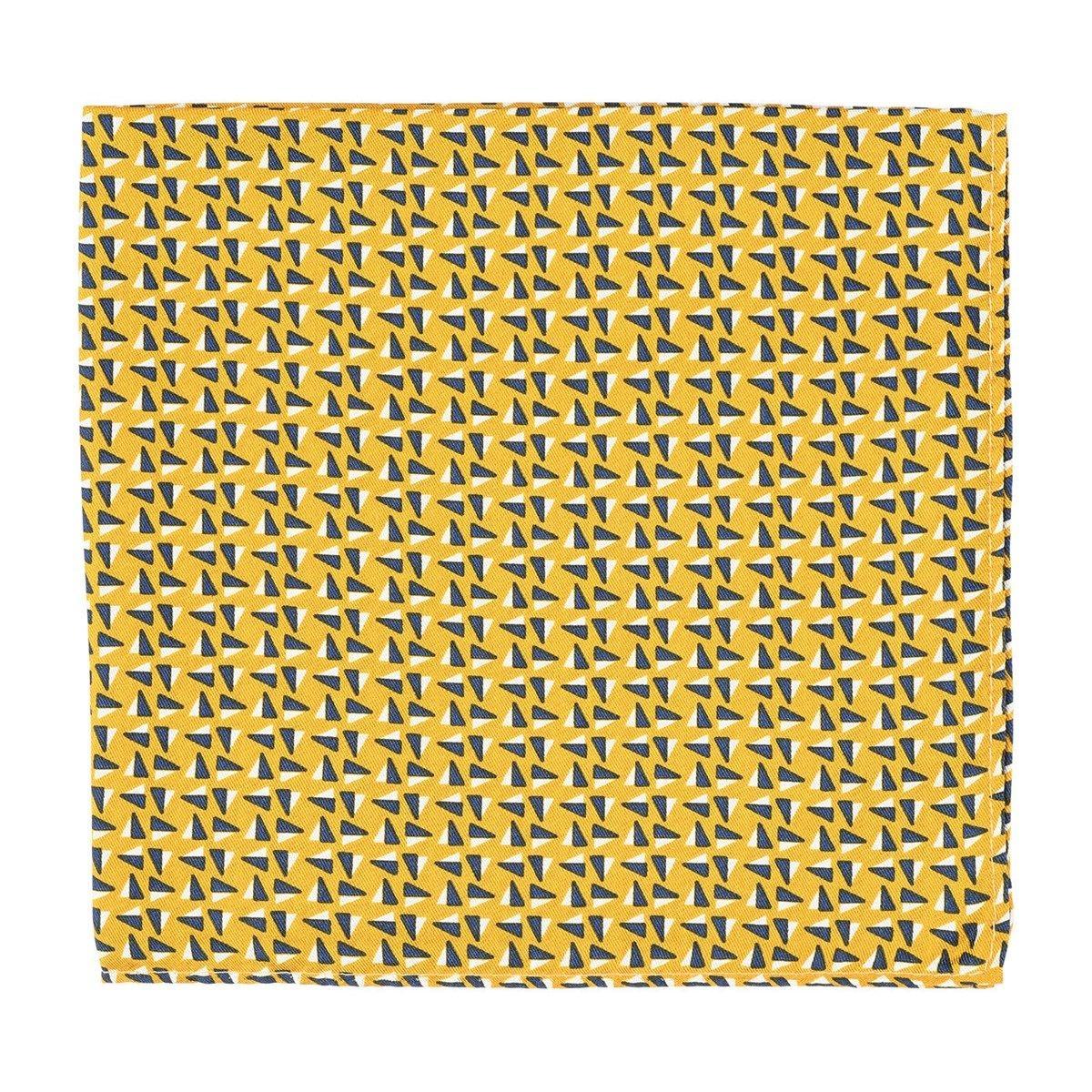 Pochette costume soie triangles tricolore