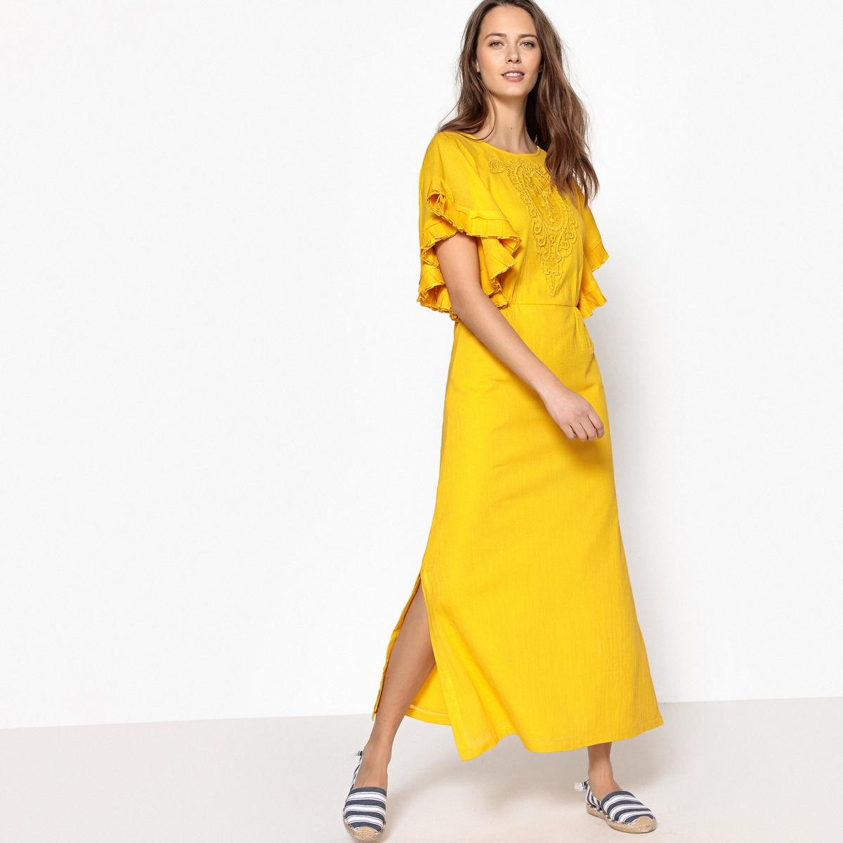 Платье длинное с вышивкой, рукава с воланами