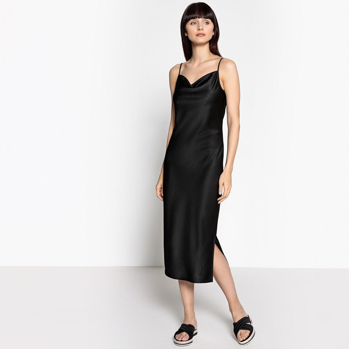 Платье в форме комбинации с блестящим эффектом от La Redoute