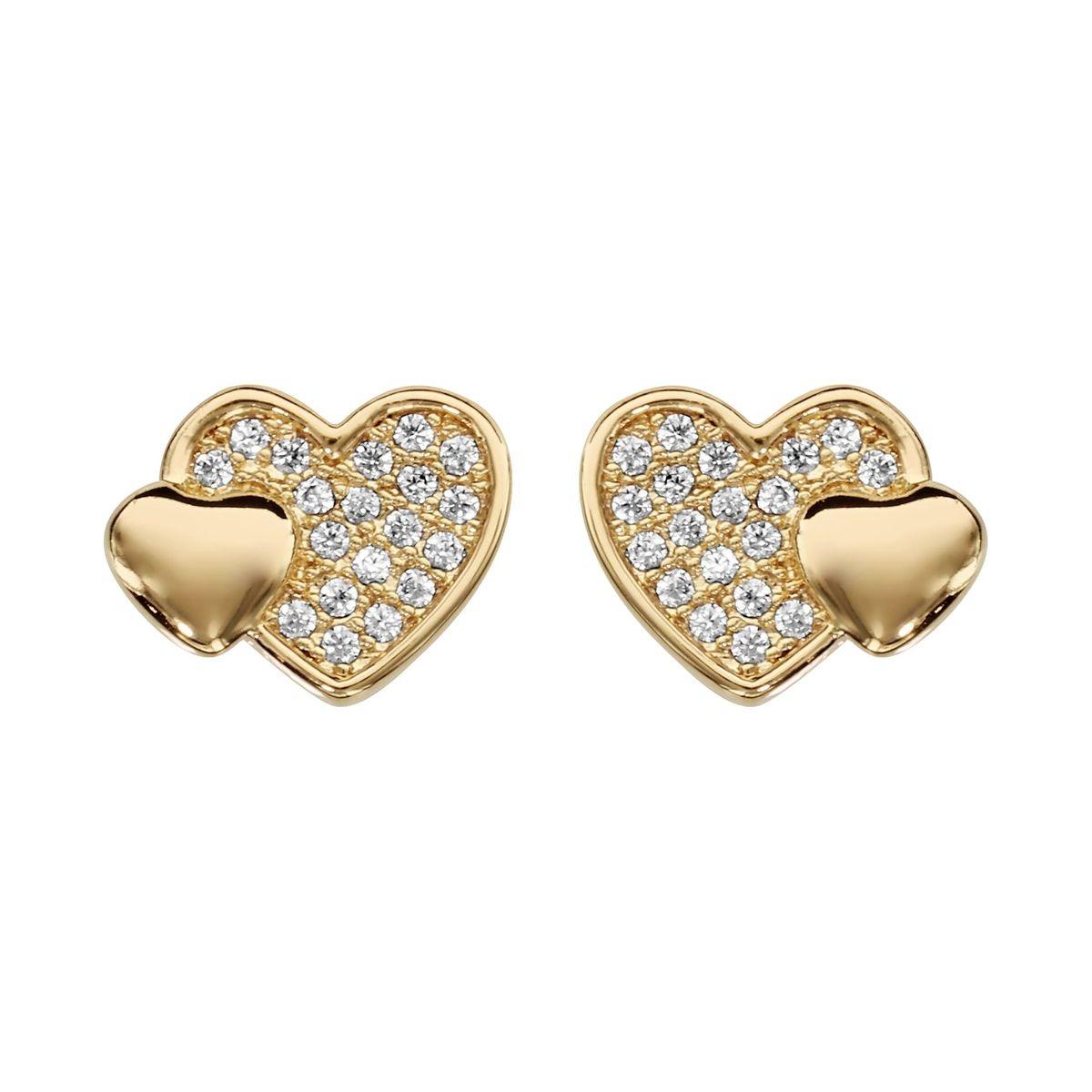 Boucles d'oreilles Double Coeur Pavage Lisse Plaqué Or
