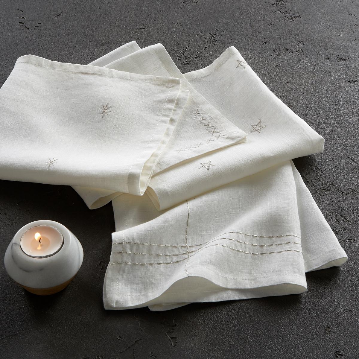 4 салфетки льняных с вышивкой Vanani4 салфетки Vanani из 100% льна. Эти салфетки совмещают естественную мягкость льна и изысканность вышивки, непохожей на разных изделиях.  Состав : - 100% ленОписание : - 1 вышитый рисунок, особенный на каждой салфетке- Серебристая вышивка на белом фоне и золотистая вышивка на антрацитовом фонеРазмер : - 40 x 40 смЗнак Oeko-Tex® гарантирует, что товары протестированы, сертифицированы и не содержат вредных для здоровья веществ.<br><br>Цвет: антрацит,белый<br>Размер: 40 x 40  см.40 x 40  см
