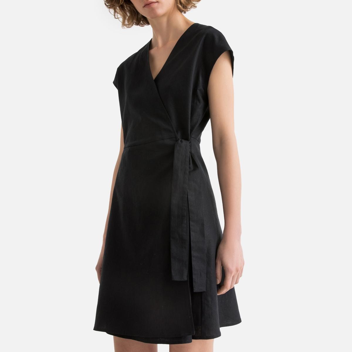 Платье La Redoute С запахом с короткими рукавами 36 (FR) - 42 (RUS) черный