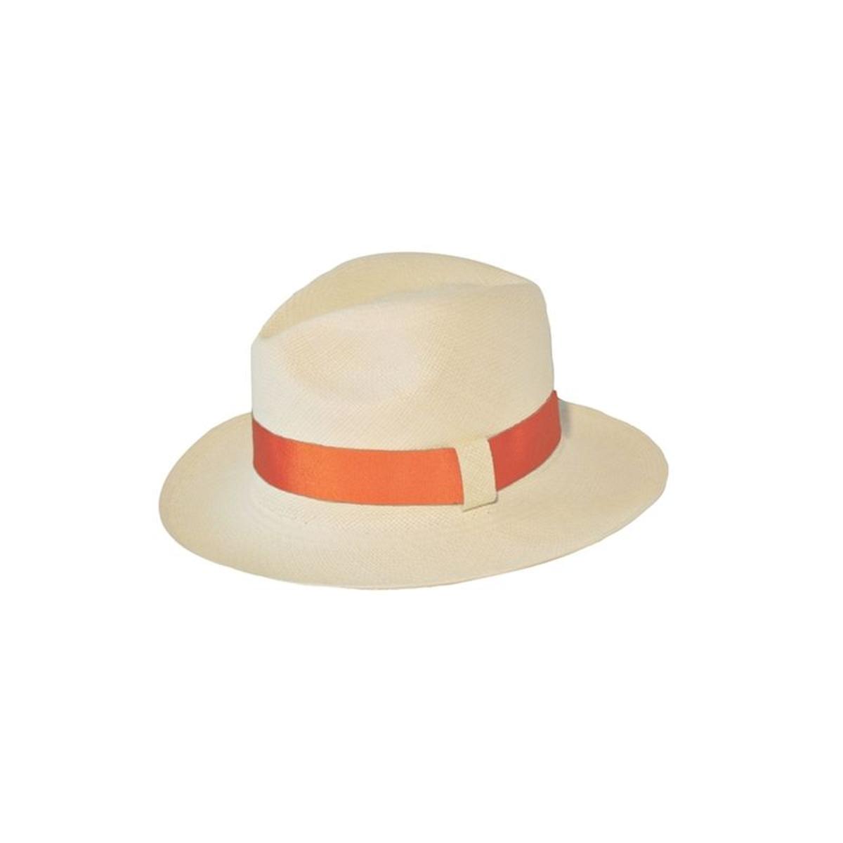 7080373e5f11 PANAMES AND CO Chapeau Panama en paille écrue ruban interchangeable  citrouille