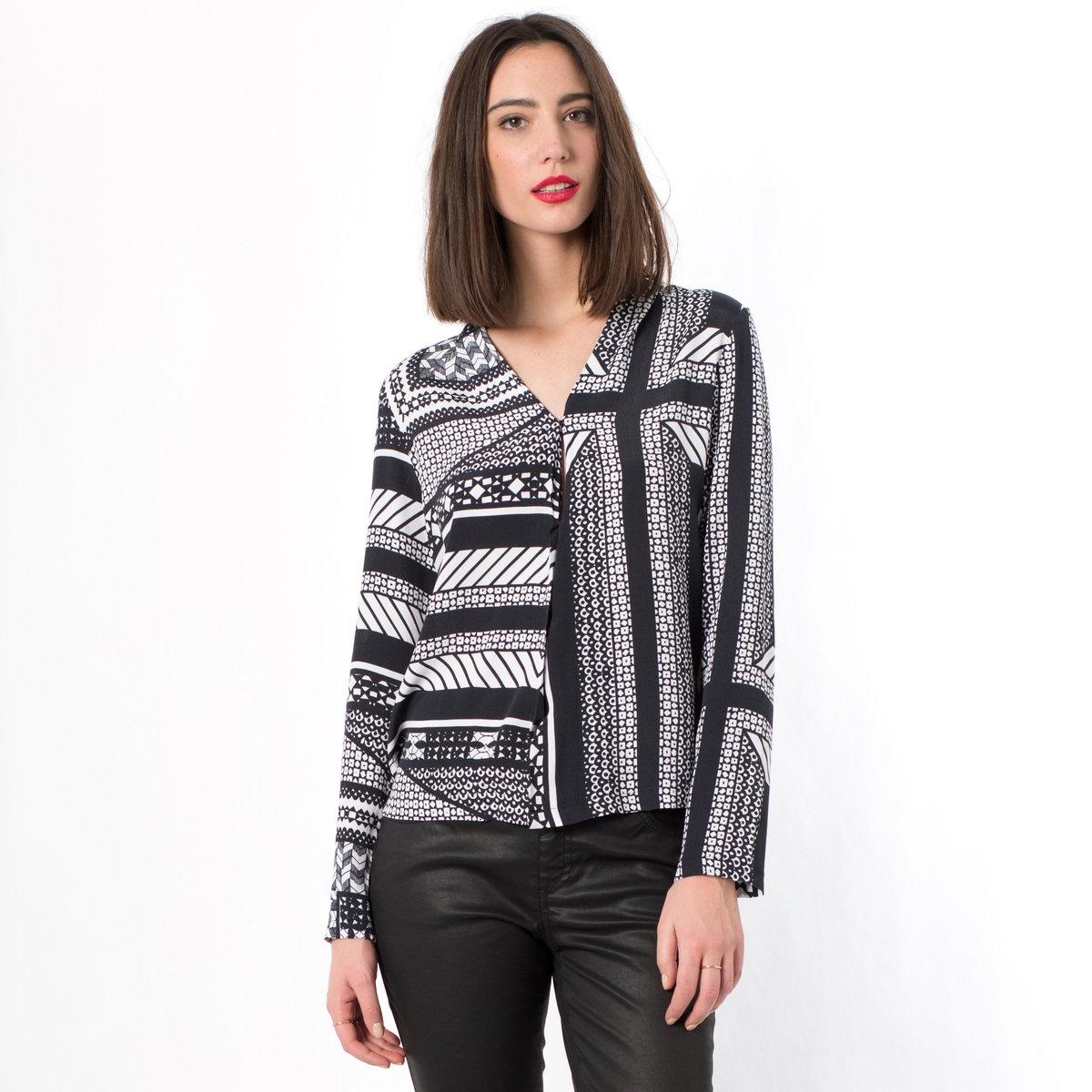 Рубашка с длинными рукавамиРубашка от TWIST&amp;TANGO, 100% вискозы, V-образный вырез. Длинные рукава. Застежка на кнопки. Длина ок.65 см.<br><br>Цвет: черный/ белый<br>Размер: 40 (FR) - 46 (RUS)