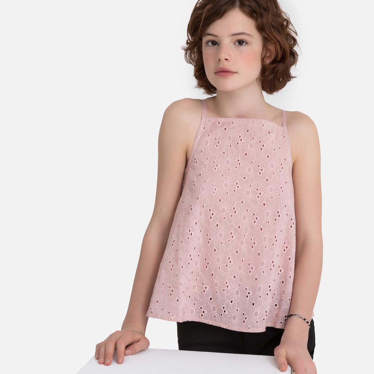 Топ La Redoute С английской вышивкой и открытой спинкой 14 розовый росмэн шопкинс средний с усиленной спинкой розовый