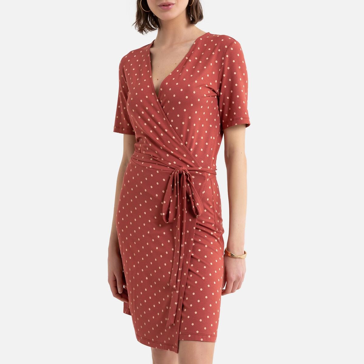 Платье La Redoute С запахом из трикотажа с принтом в горошек 42 (FR) - 48 (RUS) другие
