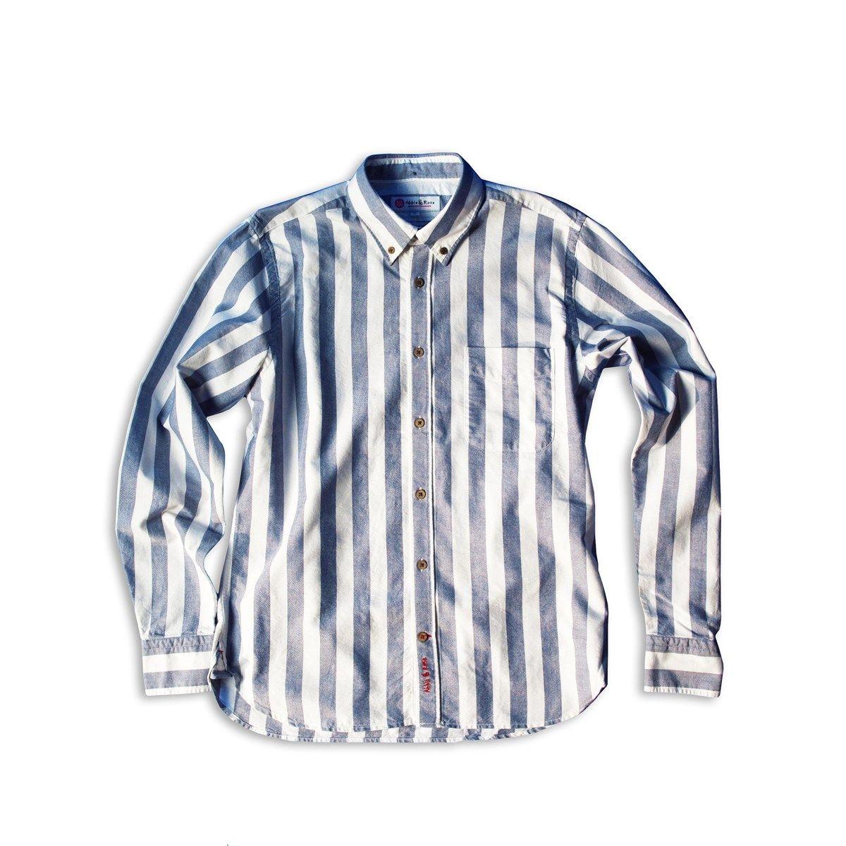 Chemise oxford à rayures col à pointes boutonnées