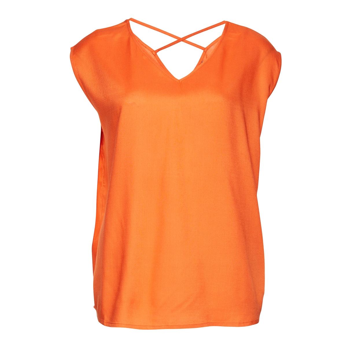 Блузка с рисунком, короткие рукава, вырез сзадиМатериал : 100% вискоза   Длина рукава : без рукавов Форма воротника : Круглый вырез Длина : Стандартная  Рисунок :с рисунком<br><br>Цвет: оранжевый<br>Размер: 40 (FR) - 46 (RUS)