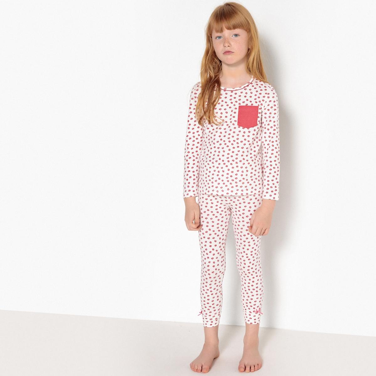Пижама с цветочным рисунком, 3-12 лет пижама хлопковая с рисунком 0 мес 3 лет oeko tex