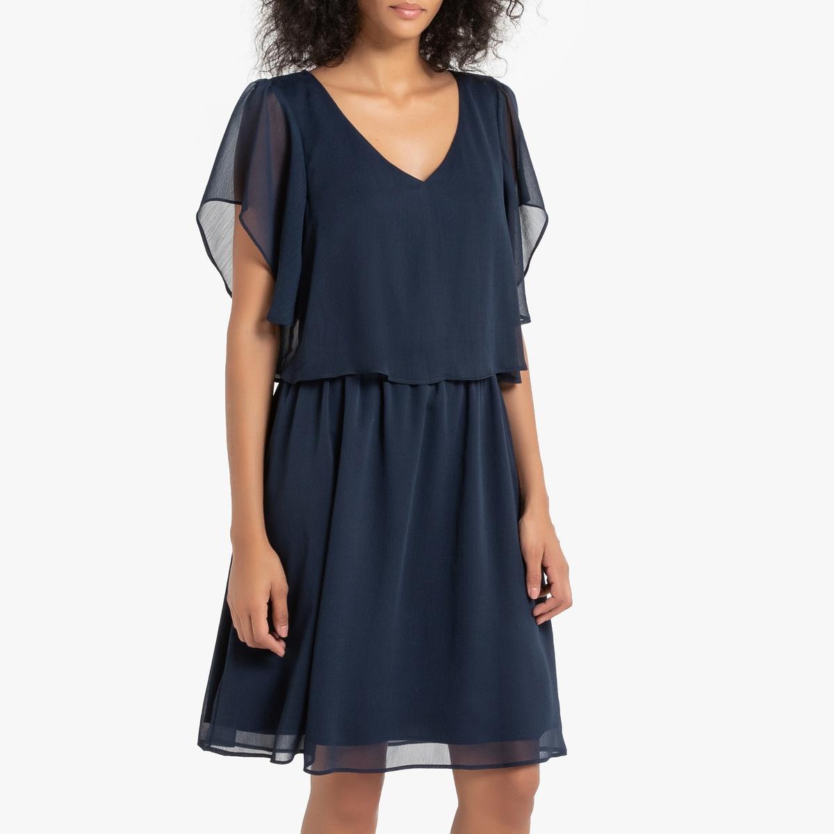 Платье La Redoute Короткое струящееся с вырезом сзади 40 (FR) - 46 (RUS) синий платье la redoute прямое струящееся cienna 2 m синий