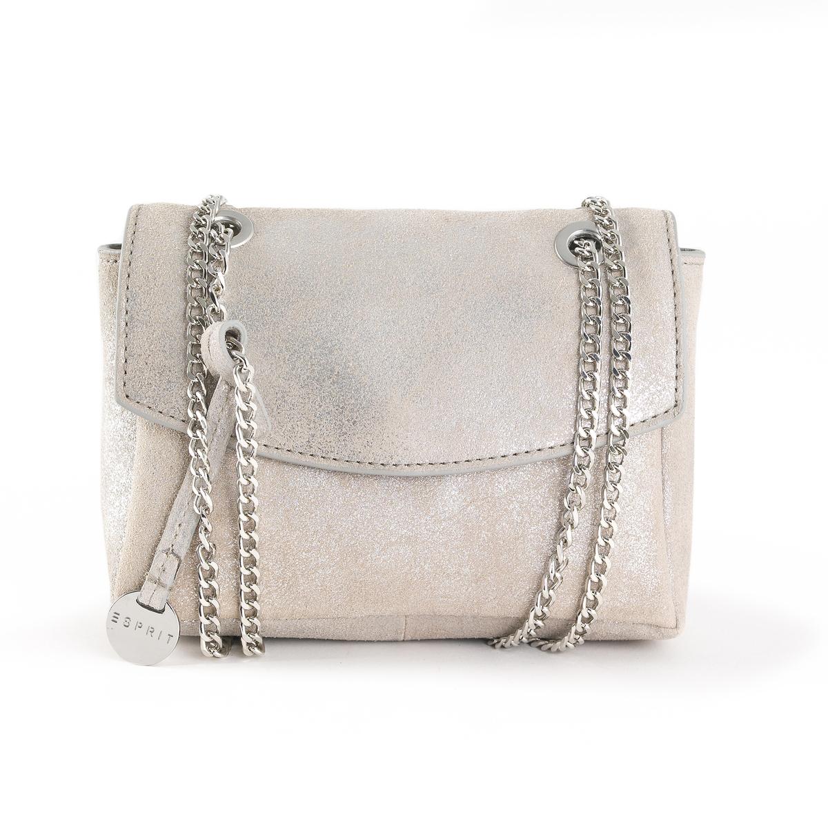 Сумка с ручками кожаная с радужным отливомКожаная сумка с ручками с радужным отливом, Chain Leather Bag от Esprit.Модный дизайн, красивая кожа с радужным отливом, цепочка для изящного внешнего вида : замечательная сумка для прогулок ! Состав и описаниеМатериал : яловичная кожа                 подкладка из полиэстераМарка : EspritРазмеры : 18 x 14 x 6 см    Застежка :  кнопка на магните  Внутренний карман.Носить через плечо или в руках.<br><br>Цвет: черный