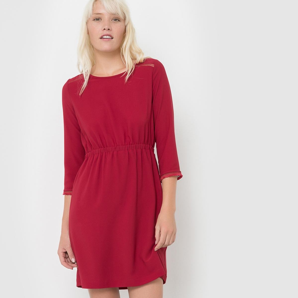 Платье с рукавами 3/4 COCOСостав и деталиМатериал         100% полиэстера     Марка         SUNCOO<br><br>Цвет: бордовый<br>Размер: L