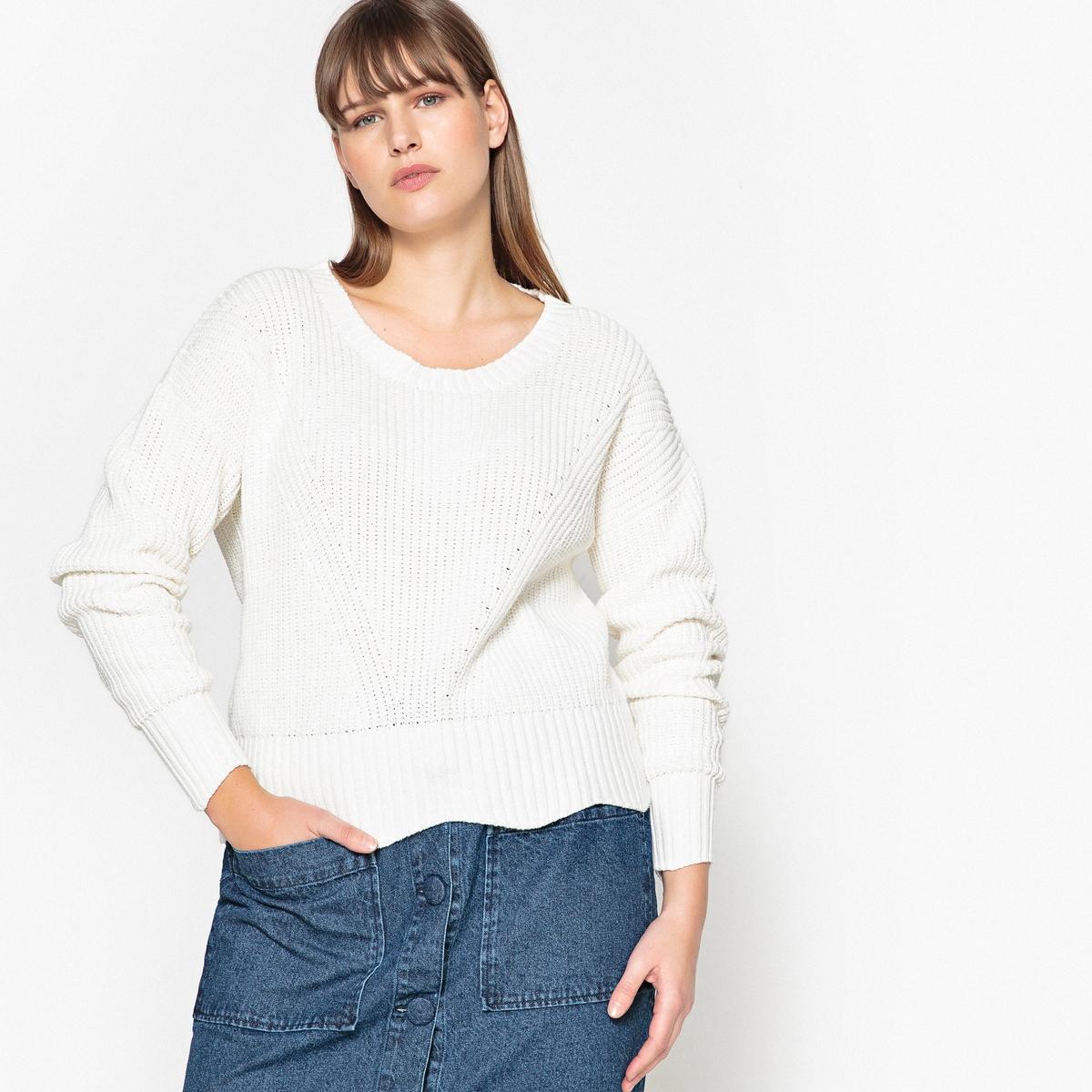 Bawełniany sweter z okrągłym dekoltem, gruby splot