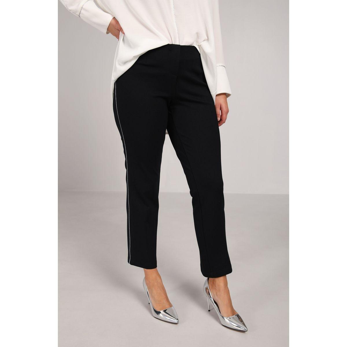 Pantalon droit avec bande argent