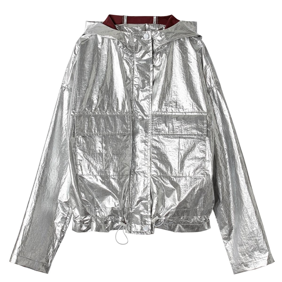 Giacca a vento con cappuccio, color argento