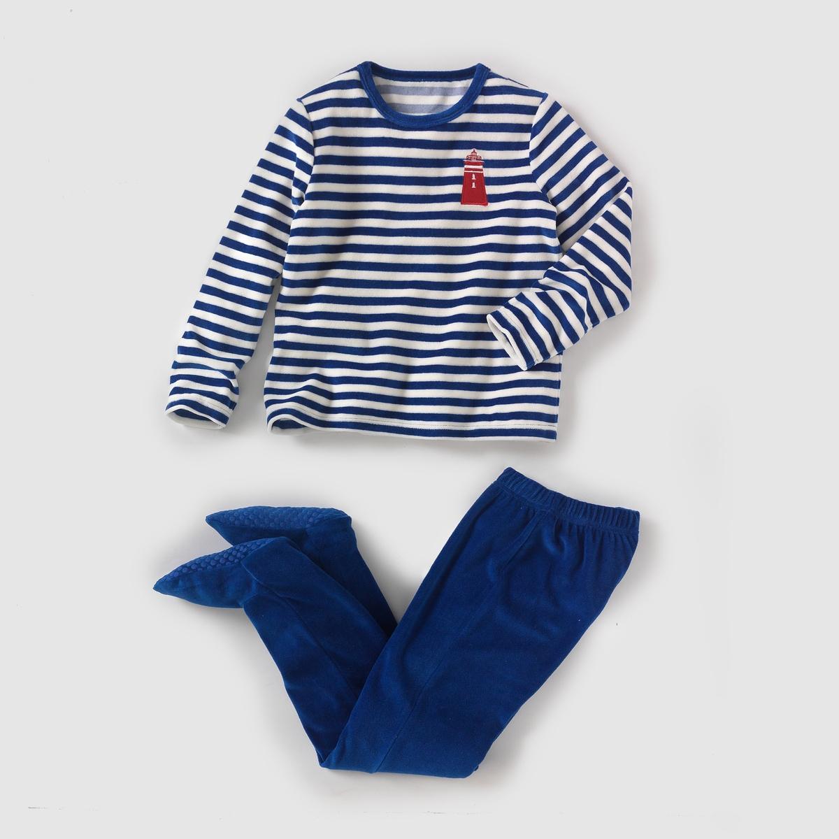 Пижама из велюра со вшитыми носочками, 2-12 лет