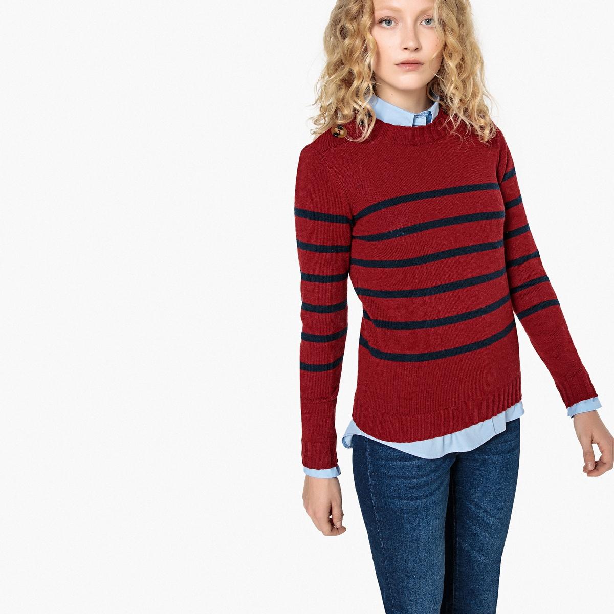 Пуловер в полоску с круглым вырезом и застежкой на пуговицы La Redoute Collections