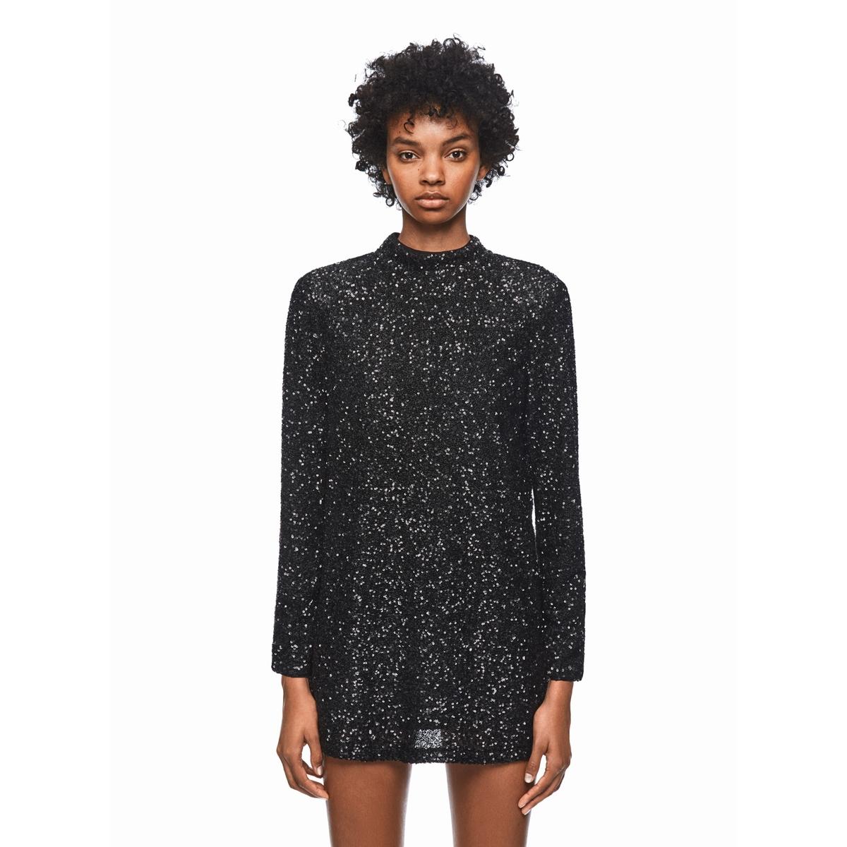 Платье LaRedoute Короткое прямое с длинными рукавами M черный прямое платье с рукавами фонарик maurini