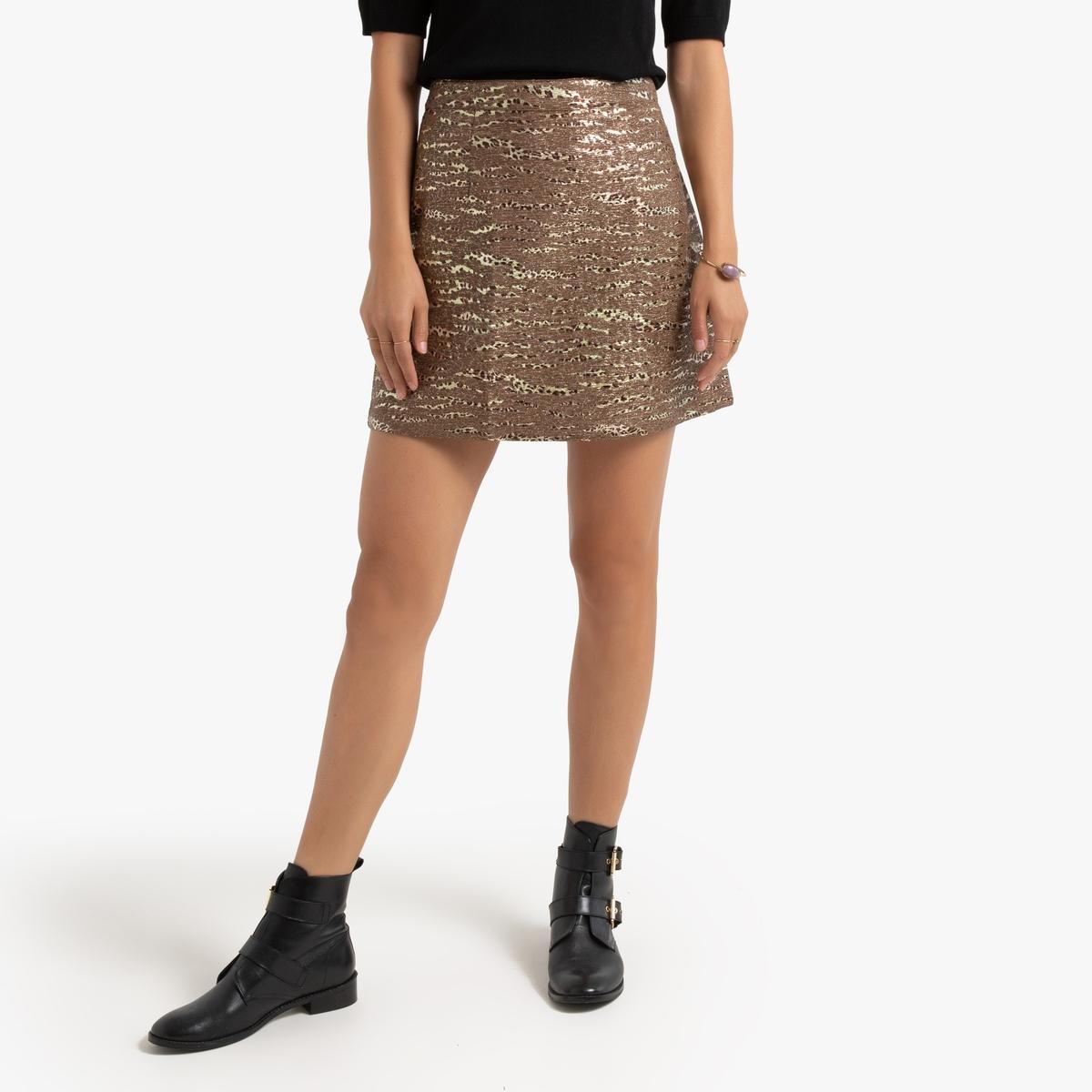 Юбка La Redoute Короткая прямая блестящая XS каштановый юбка la redoute короткая с завышенной талией и цветочным рисунком xs зеленый
