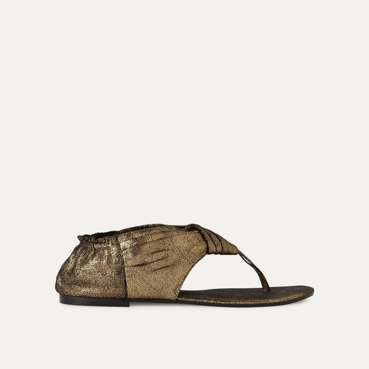 Босоножки кожаныеОписание:Детали  •  Плоский каблук •  Застежка : без застежки •  Открытый мысок •  Гладкая отделкаСостав и уход  •  Верх 100% кожа<br><br>Цвет: золотистый