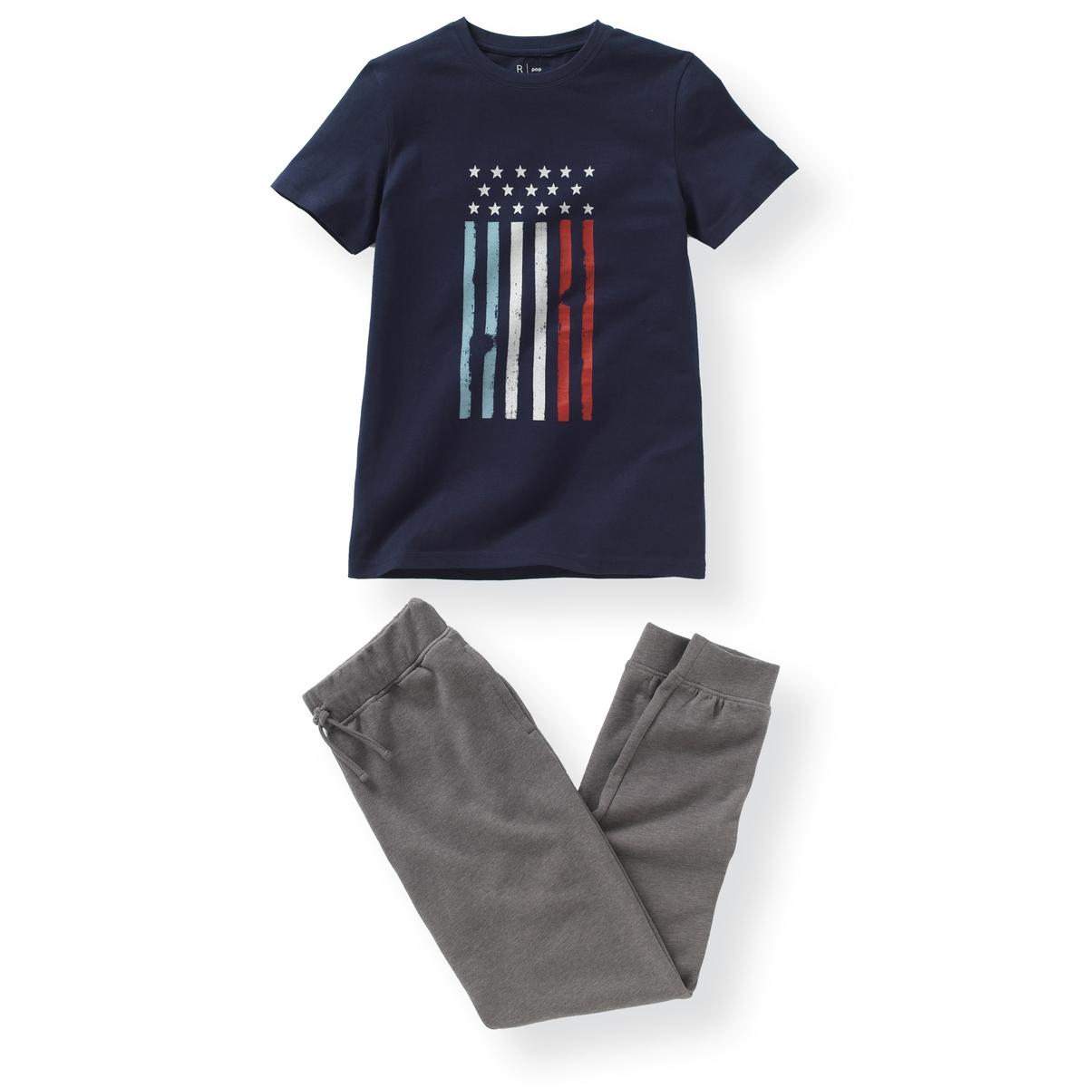 Пижама из 2 материалов с рисунком флаг 10-16 лет