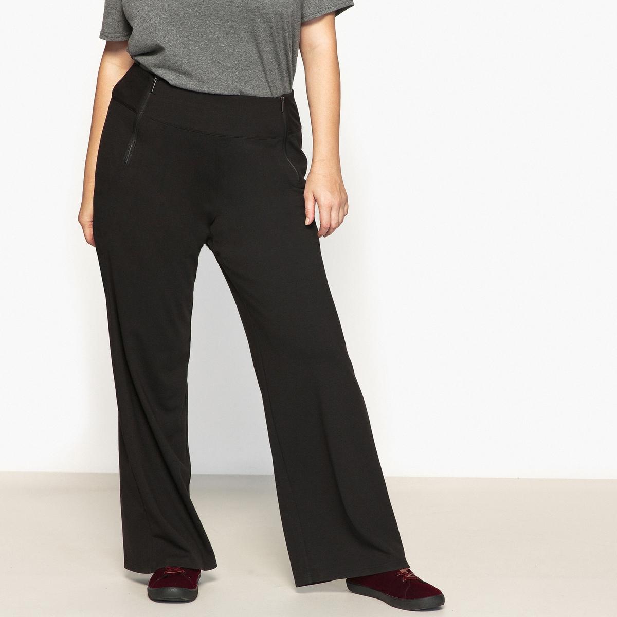 Брюки широкого покроя из плотного трикотажаОписание:Очень стильные трикотажные брюки широкого покроя очень приятны в носке. Широкий плоский пояс и молнии спереди.Детали •  Широкий покрой   •  Высокий пояс  •  Эластичный поясСостав и уход • 75% вискозы, 5% эластана, 20% полиэстера   •  Температура стирки при 30° на деликатном режиме   •  Сухая чистка и отбеливание запрещены •  Не использовать барабанную сушку   •  Низкая температура глажки Товар из коллекции больших размеров •  Длина по внутр.шву 81 см, ширина по низу 32 см<br><br>Цвет: черный<br>Размер: 48 (FR) - 54 (RUS).46 (FR) - 52 (RUS).42 (FR) - 48 (RUS).52 (FR) - 58 (RUS)