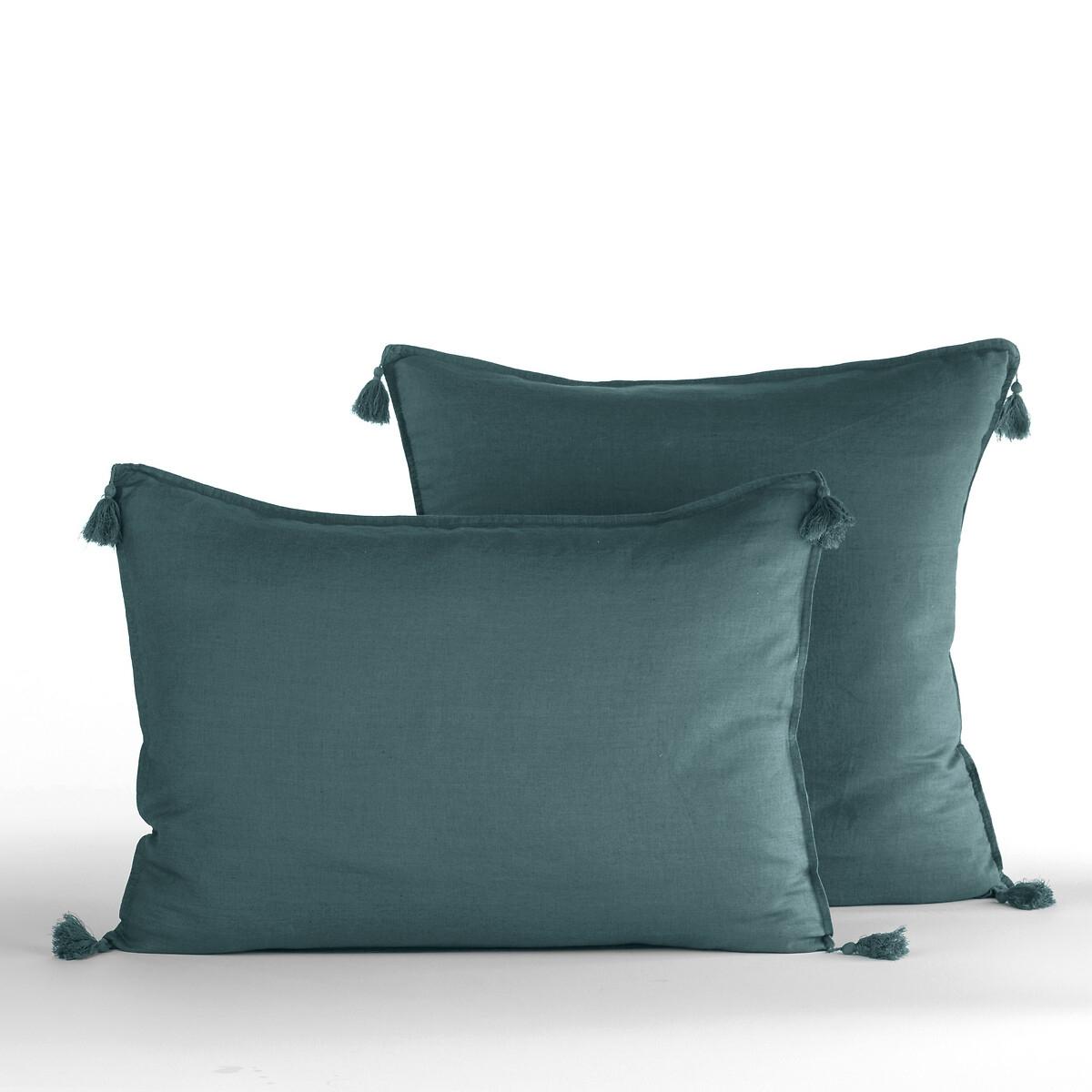 Наволочка La Redoute Из льна Carly 65 x 65 см зеленый чехол la redoute для подушки или наволочка однотонного цвета с помпонами riad 65 x 65 см розовый