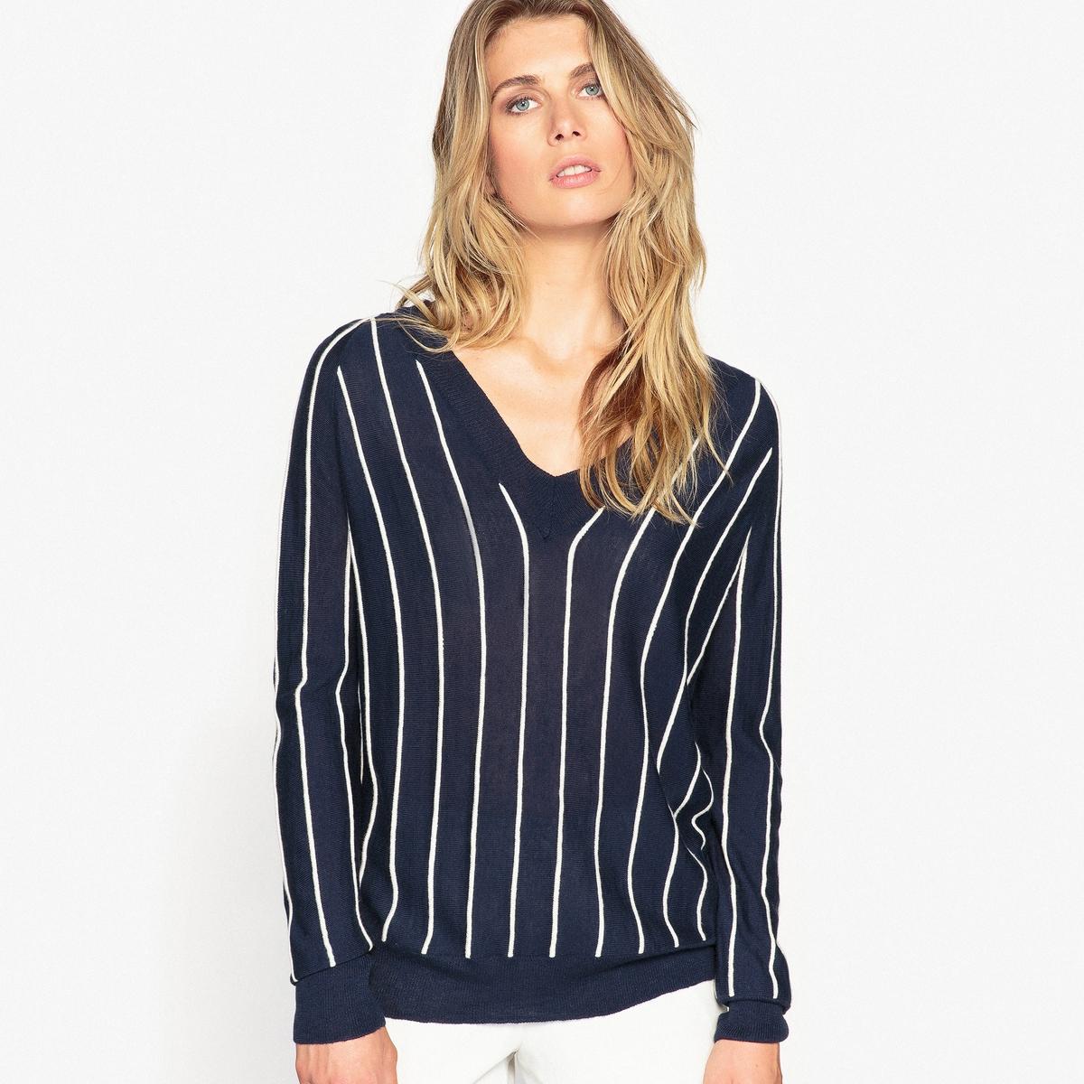 Sweter z dekoltem V z cienkiej dzianiny