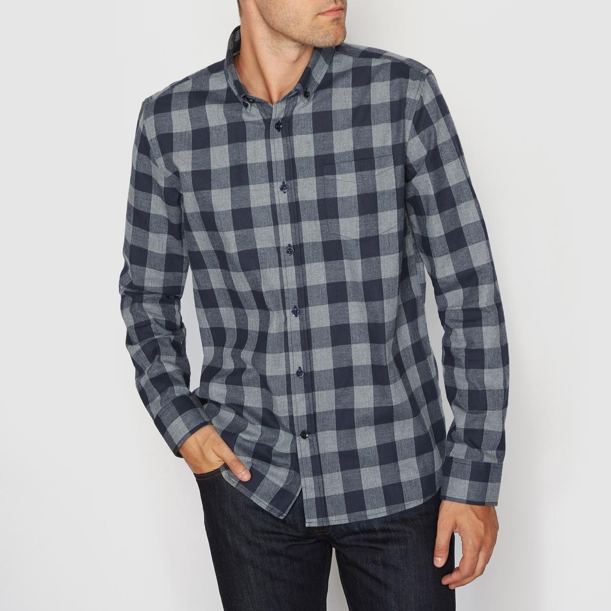 Рубашка прямого покроя с длинными рукавами из фланелиСостав и описание : Материал    :  фланель100% хлопокДлина : 76 смМарка    : R essentielУход :Машинная стирка при 30 °C с вещами схожих цветовГладить при умеренной температуре<br><br>Цвет: в сине-серую клетку