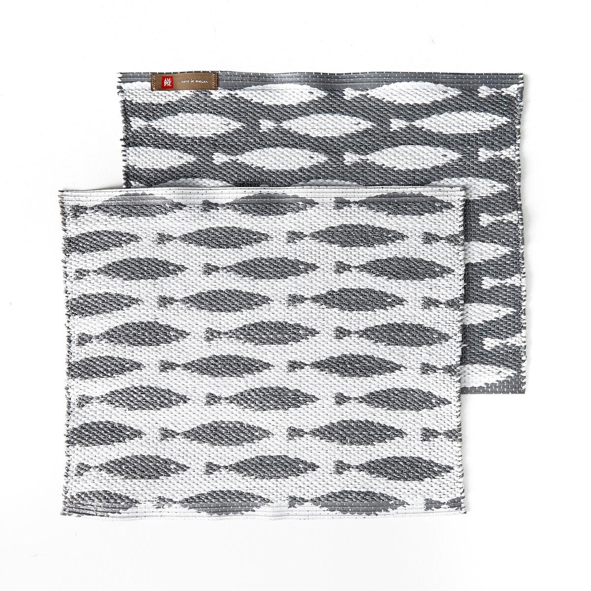 Комплект из 2 столовых приборов Sahani2 столовых прибора Saxanka добавят оригинальности Вашему столу. Рисунок рыба, из ПВХ. Размеры. 35 x 45 см.<br><br>Цвет: серый/ белый<br>Размер: единый размер