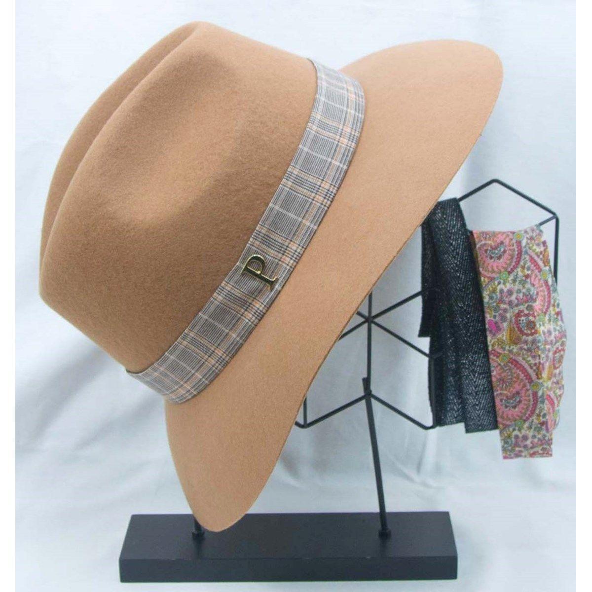 Lot chapeau feutre Frida camel et 3 rubans interchangeables